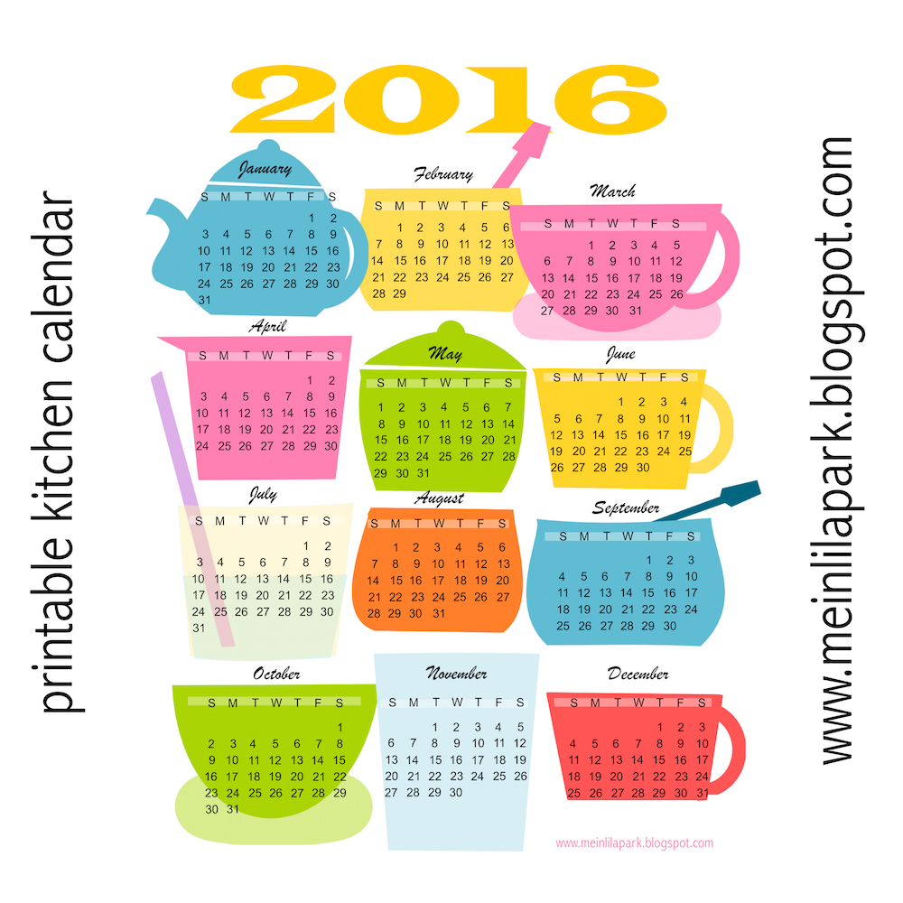 Today I created a free printable 2016 kitchen calendar for you! Tea ...