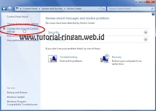 Masuk ke Change User Account Center setting