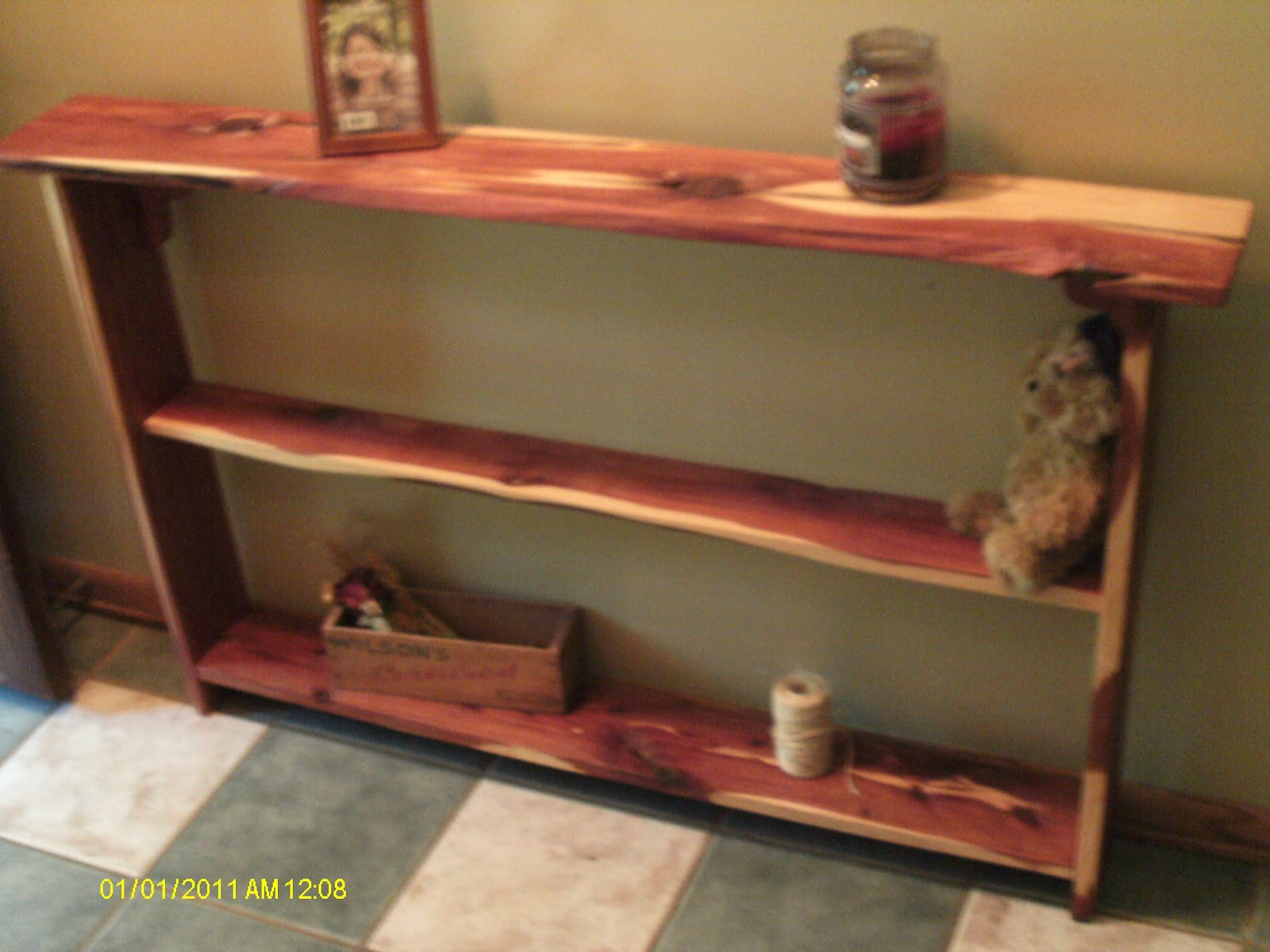Rustic amp Log Furniture Cedar Entry Way TableShelf And Boxes