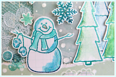 SRM Stickers Blog - { warm wishes · merry christmas} by Shannon - #card #christmas #janesdoodles #lace #warmwishes #stickers #lace #twine