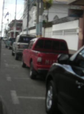 parking lines redrawn, La Ceiba, Honduras