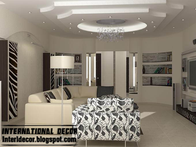 modern gypsum board ceiling design for modern living room with ...
