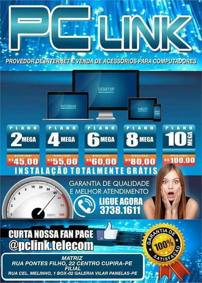 PUBLICIDADE PCLINK PROVEDOR DE INTERNET