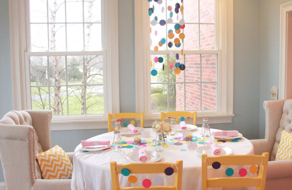 The Brinner Table Was Set Up In Our Sunroom For A Runner Down The Center Of The Table I Punched 3 Inch And 2 Inch Paper Circles And Scattered Them Down