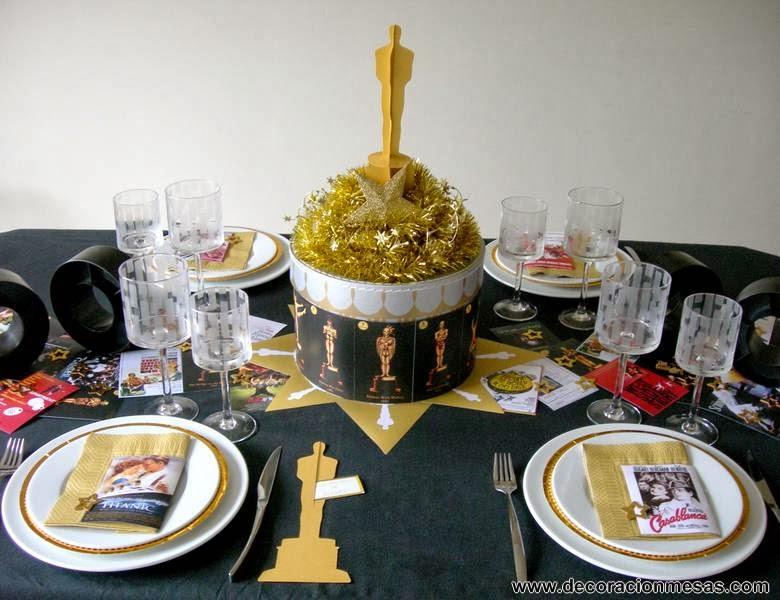 decoracion mesa Oscar cine
