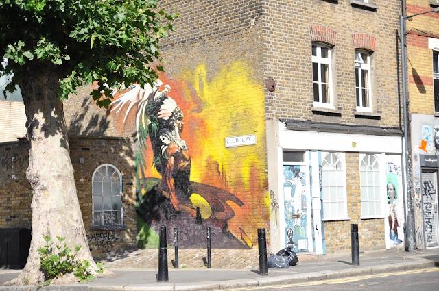 Redchurch Street Club Row red indian grafitti Shoreditch