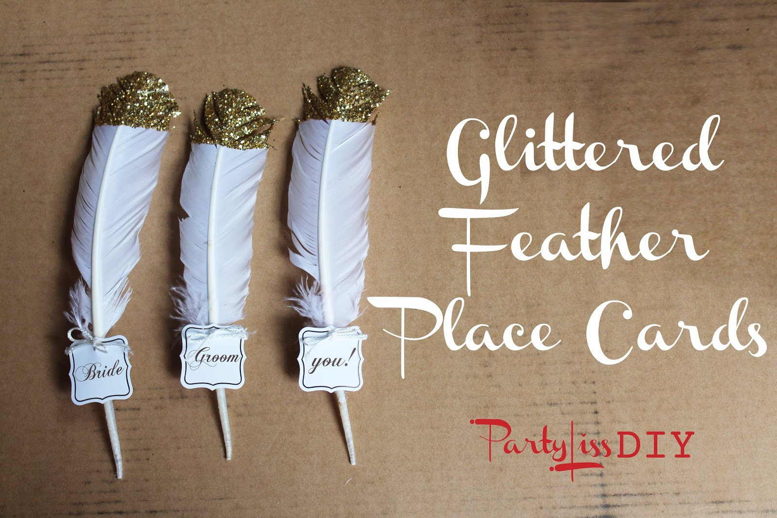 partyliss diy glittered feather place cards