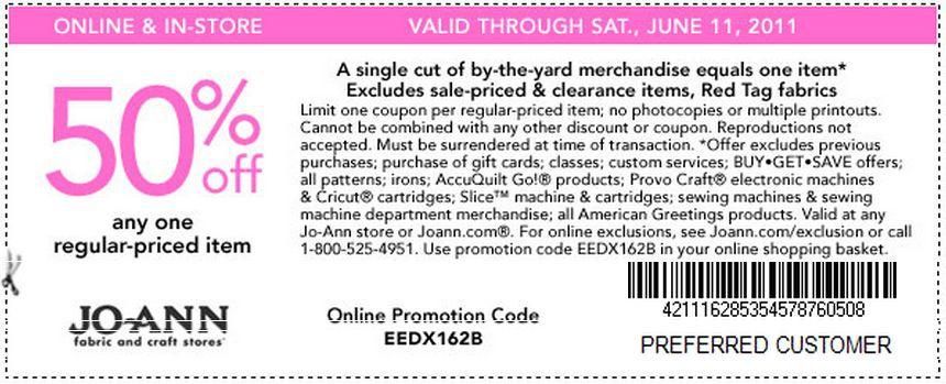 Joann 50 off printable coupon 2018