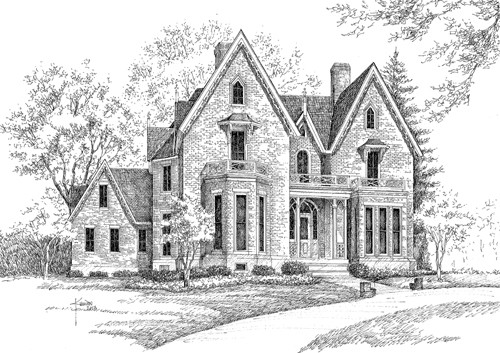 a pen and ink drawing of the gothic revival house on the bellarimine showhouse tour with trees and a walkway up to the brick house