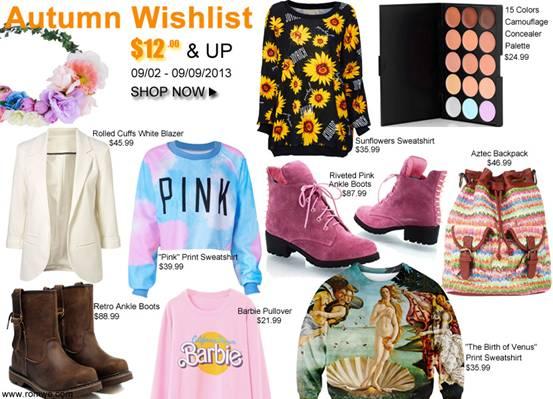 preparate la vostra lista dei desideri...l'autunno è più glam con romwe!