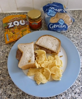 A late lunch of a beef and ale mustard sandwich (made with Genius Gluten Free bread) and the obligatory Pom-Bear snacks on the side (these are the newish Zoo Friends variety and are 'really cheesy')