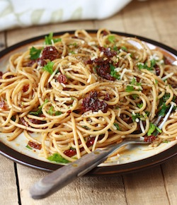 Sun-Dried Tomato Pasta with Garlic Herb Olive Oil Sauce