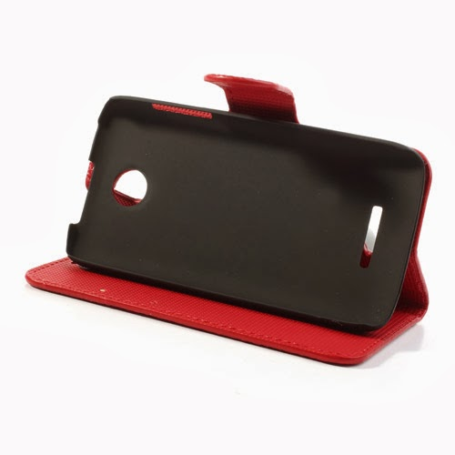 Litchi Leather Case with Card Slots for Lenovo A390 - Red