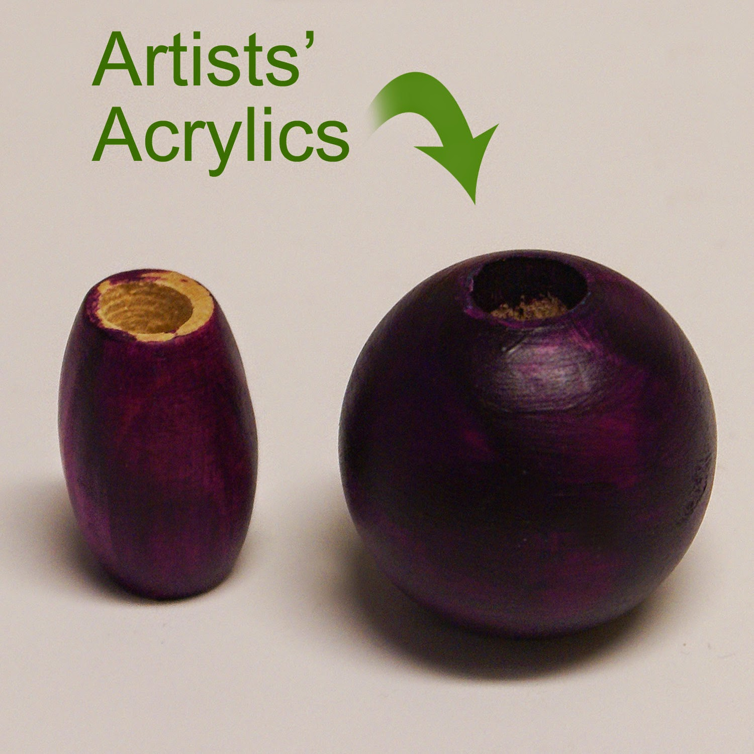 Artists' Acrylic painted beads leave a shiny & stain-like finish