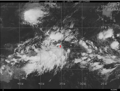 OPHELIA noch nicht in Sicht, aber 2 Tiefdruckgebiete im Atlantik verlangen nach etwas Aufmerksamkeit, Ophelia, Atlantik, Satellitenbild Satellitenbilder, September, Vorhersage Forecast Prognose, 2011, Hurrikansaison 2011, aktuell,