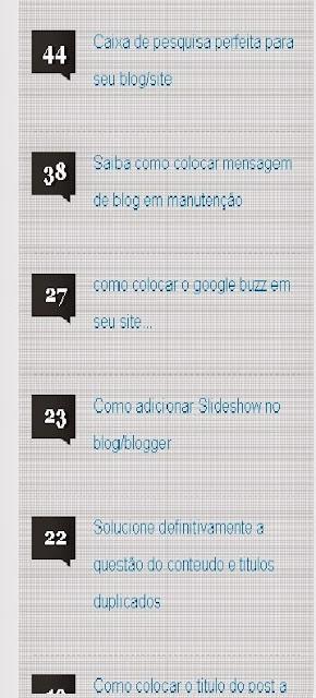 Widget mais comentados posts para blog