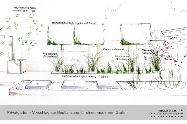 Sichtschutz im modernen Garten mit passender Bepflanzung als Schutz für den Gartenraum mit dem architektonischen Wasserbecken