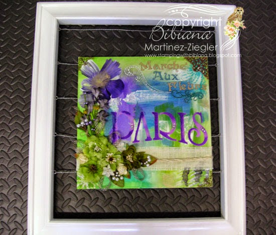 stencil acrylic  floating canvas using petaloo and decoart products