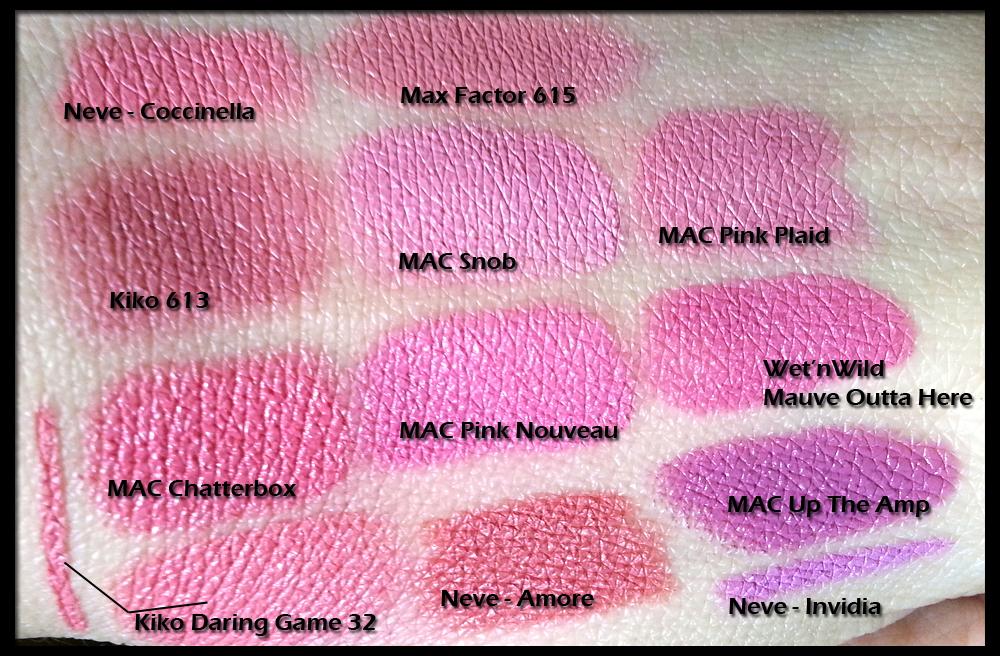 Wet n Wild Mauve Outta Here (907C) a confronto con MAC Snob, Pink Nouveau, Up The Amp, Pink Plaid, Chatterbox; Neve Invidia, Coccinella e Amore; Kiko Daring Game 32 matita e rossetto, velvet mat 613; Max Factor 615