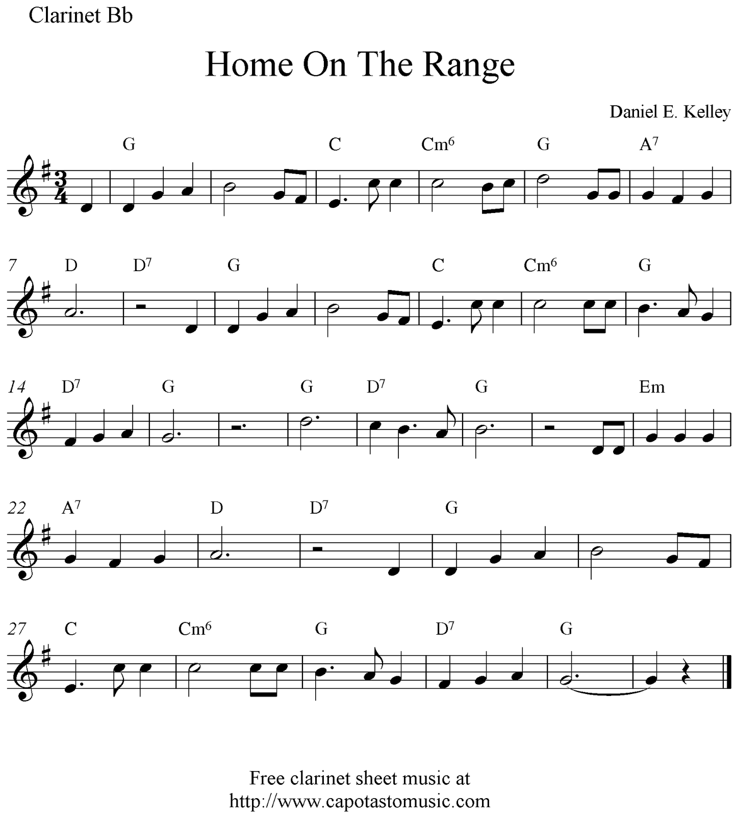 Home on the range free clarinet sheet music notes