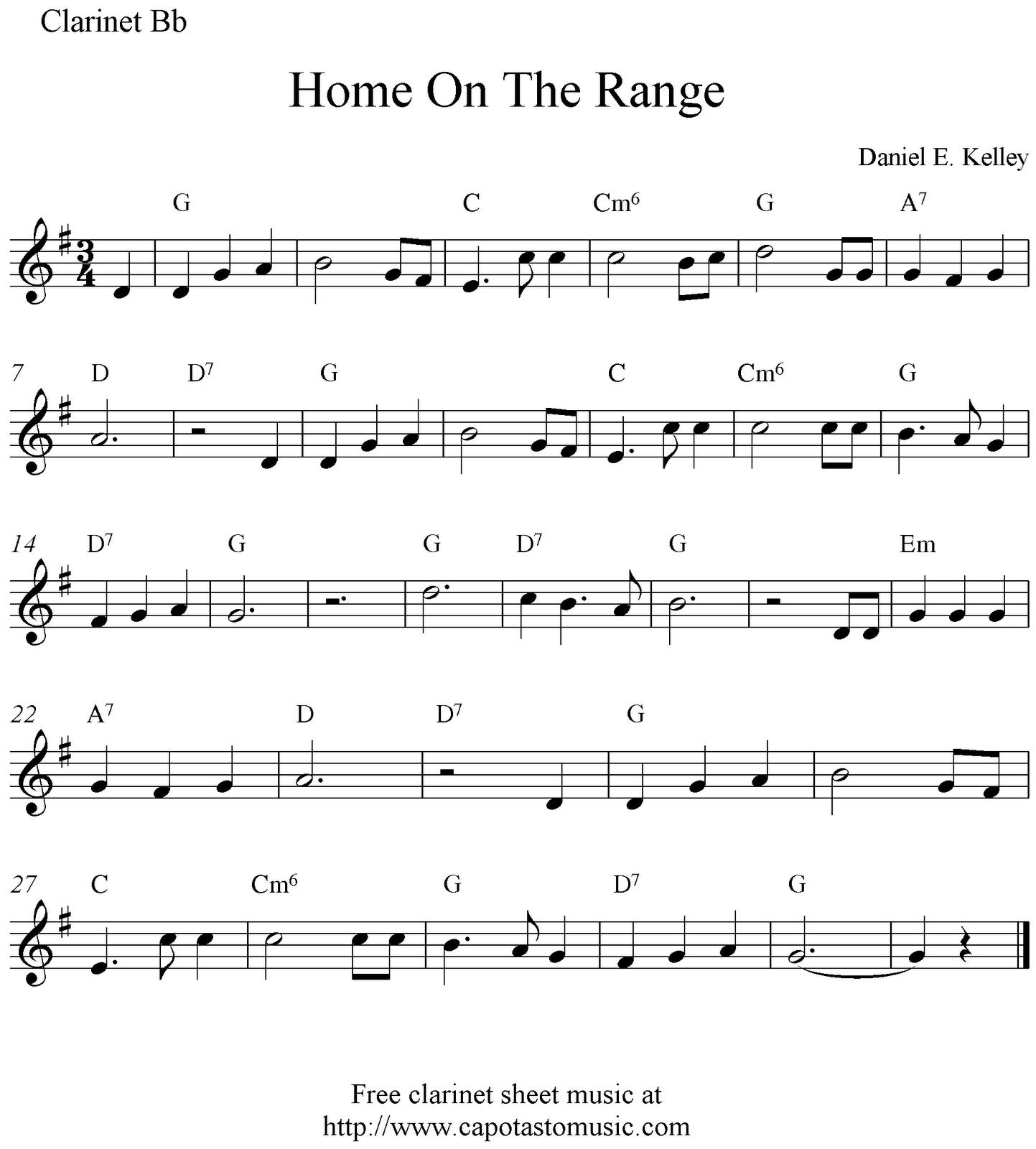 Music In FiPix: Clarinet Sheet Music