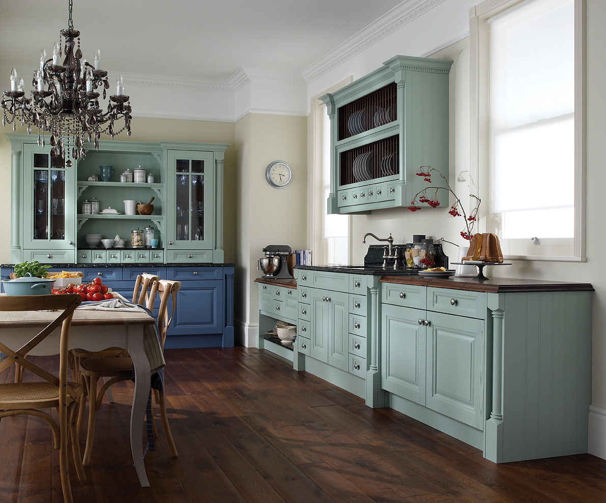 Blue Kitchen Cabinets with Wood