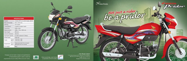 Banner and Specifications of Honda Pridor CD-100 Pakistan
