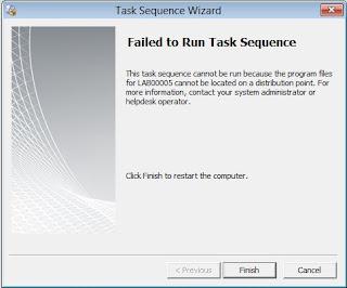 Tarea de secuencia falla con SCCM 2012 SP1