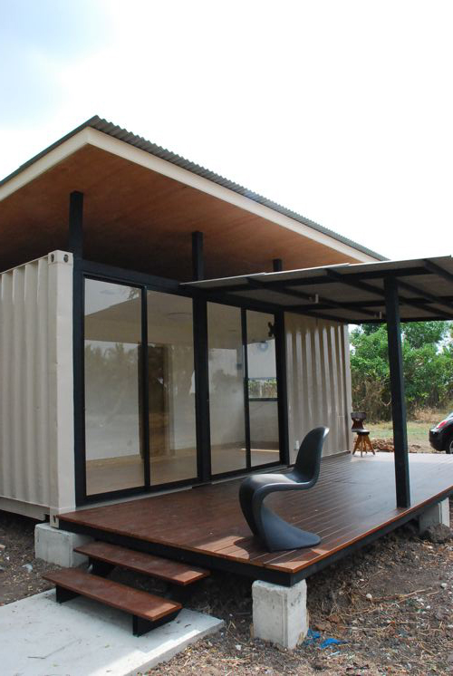 Shipping container homes bluebrown container home thailand - Homes made from shipping containers cost ...