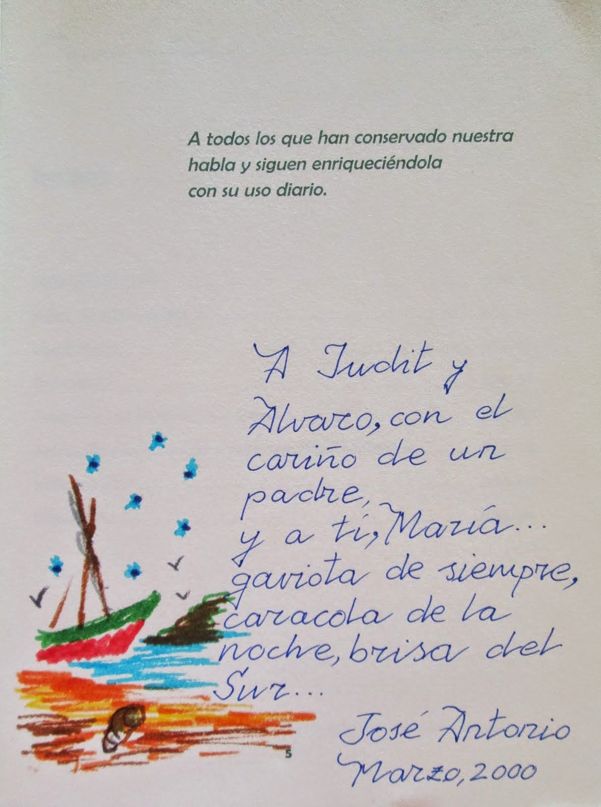 DEDICATORIA DE J. ANTONIO