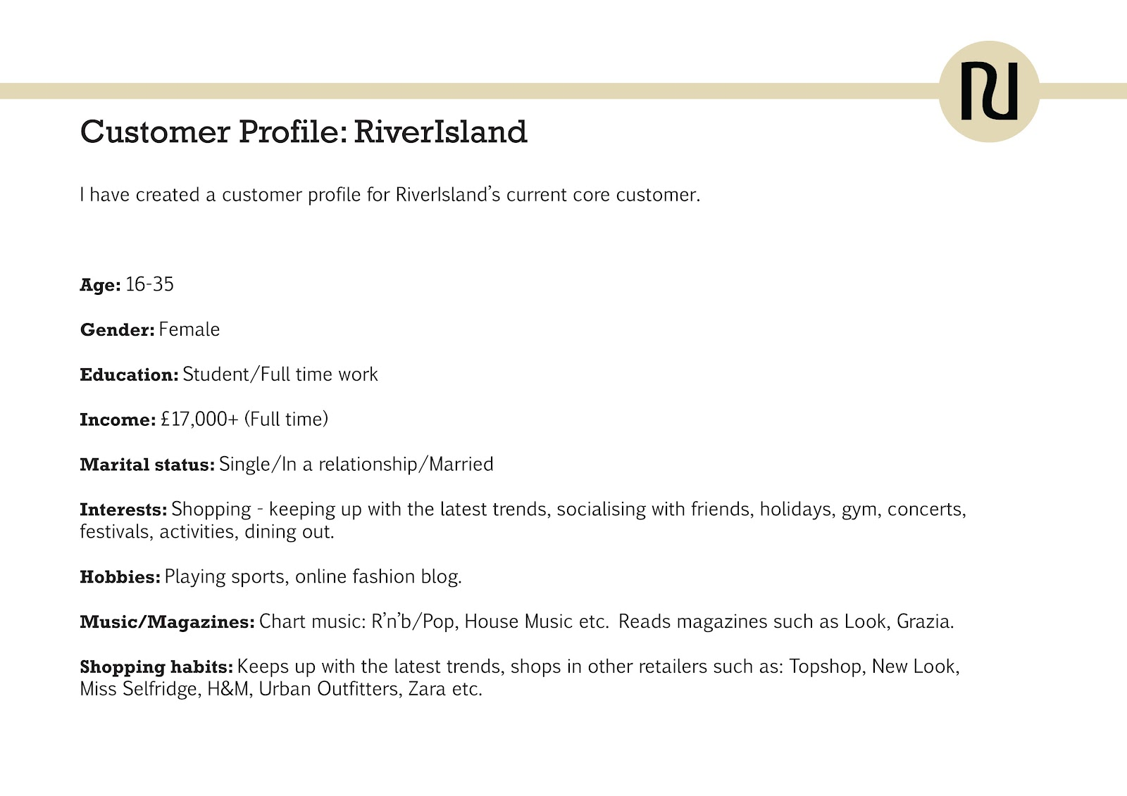 final major project through my eyes  riverisland customer profile