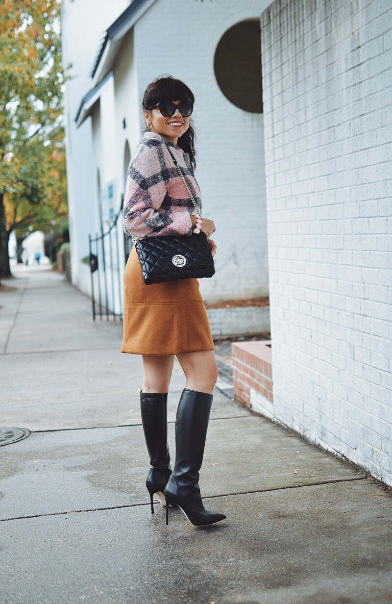 Mini skirt with tall boots