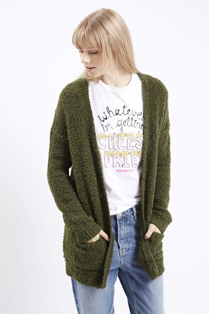 green thick cardigan