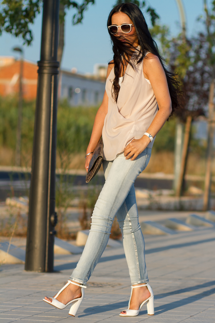 Glossy Bleached Jeans by Meltin' Pot