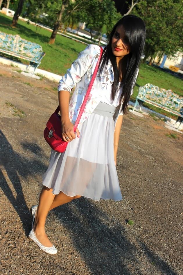 saia transparente, blazer florido, blazer le lis blanc, sapatilha khelf, bolsa chenson, look do dia, blog de moda