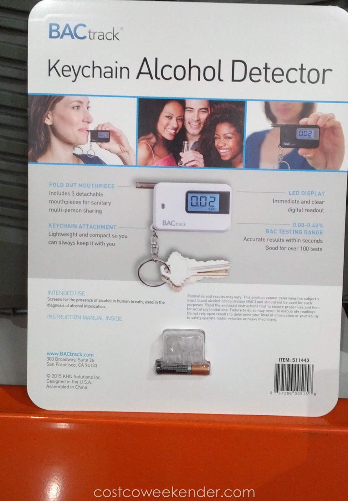 Costco 511443 - Avoid DUIs and possibly hurting someone with the BACtrack Keychain Alcohol Detector