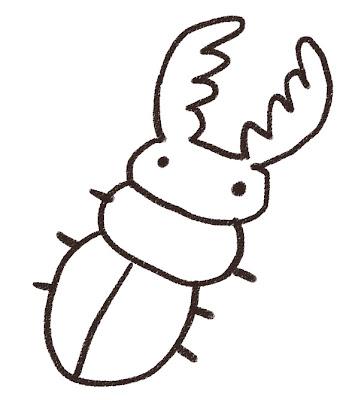 クワガタムシのイラスト(虫) モノクロ線画