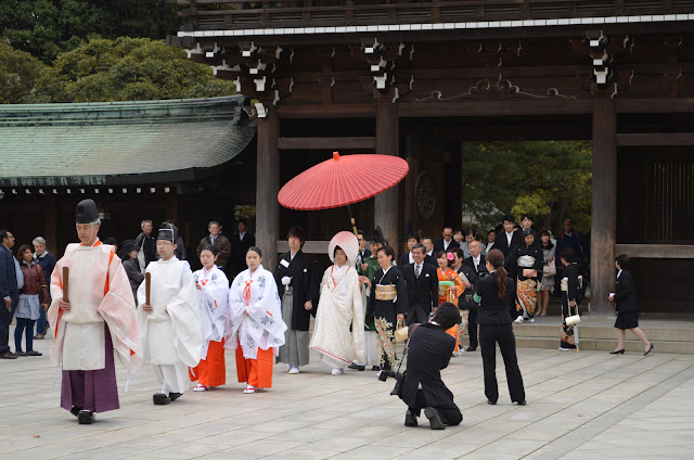 A Shinto wedding procession at Meiji Shrine, Tokyo