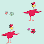 red doodle bird pattern