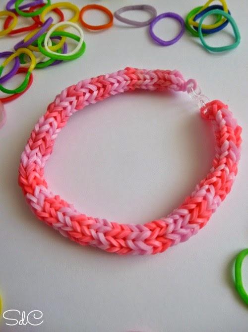 DIY pulseras gomas elasticas tricotin rainbow loom