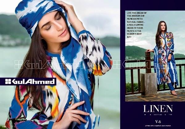 Gul Ahmed FW Digital Linen-2014-15