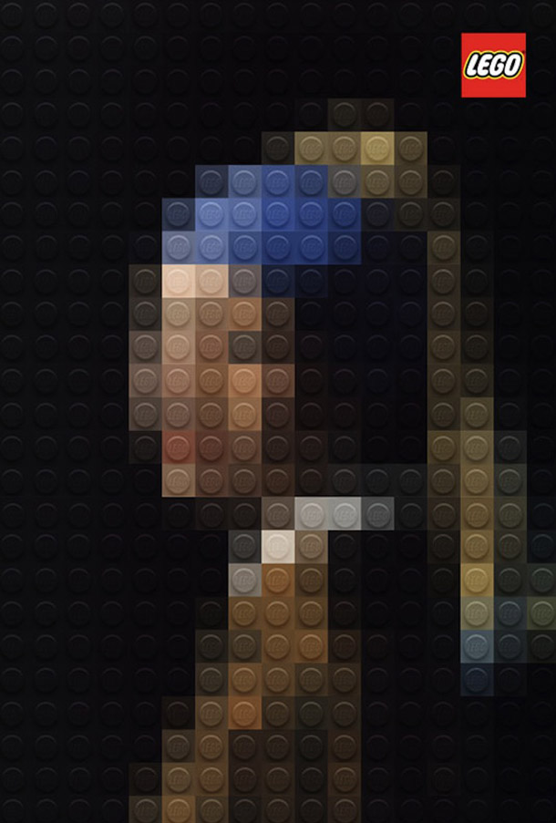 """Obras Primas da Pintura em LEGO por Marco Sodano - """"Rapariga com Brinco de Pérola"""" de Johannes Vermeer"""