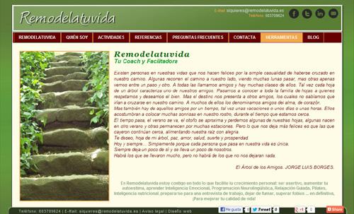 página web de Remodelatuvida (coaching y soluciones para el crecimiento personal)