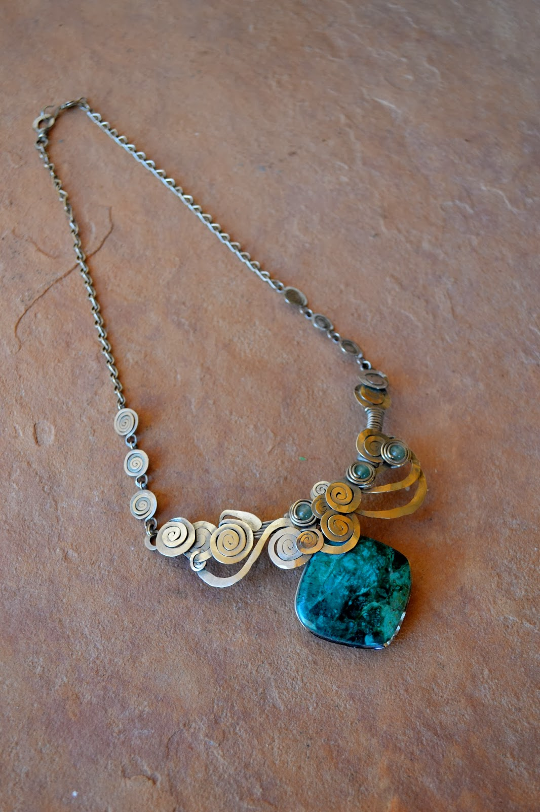 Spiral Silver Necklace with Healing Turquoise Gemstone