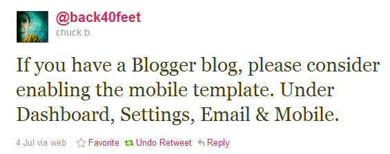 Enable mobile templates in your Blogger garden blog