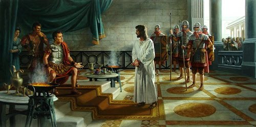 Resultado de imagem para Jesus diante de Pilatos e de Herodes