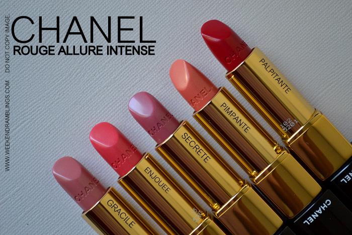 Chanel Rouge Allure Intense Luminous Lipsticks Swatches Gracile Pimpante Enjouee Palpitante Secrete Indian Makeup Beauty Blog
