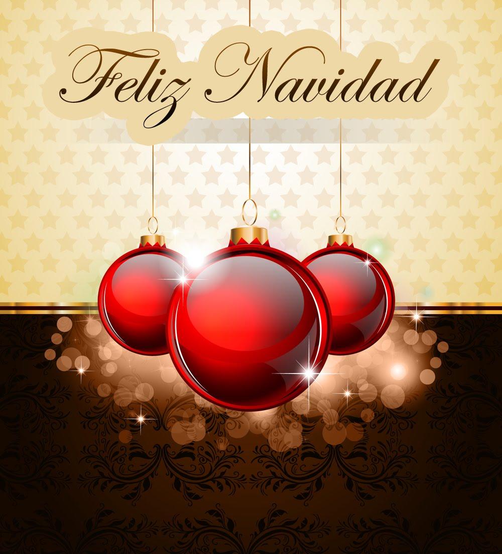 Postal de navidad con mensaje feliz navidad esferas rojas - Esferas de navidad ...
