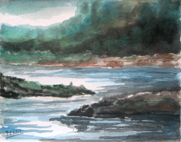 Watercolor Painting of Riverside Landscape